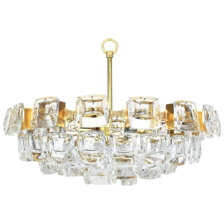 Large Gilt Brass and Crystal Glass Chandelier by Palwa, Germany, 1960s For Sale