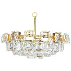 Large Gilt Brass and Crystal Glass Chandelier by Palwa, Germany, 1960s