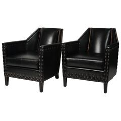 Black Club Chairs with Nail Head Trim