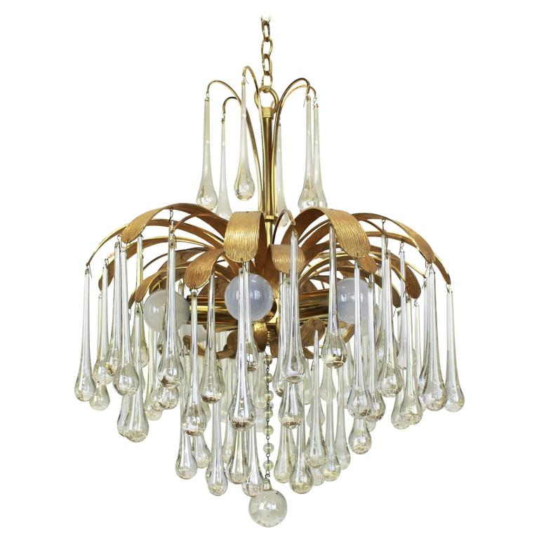 Large Murano Glass Tear Drop Chandelier by Palwa, Germany, 1960s