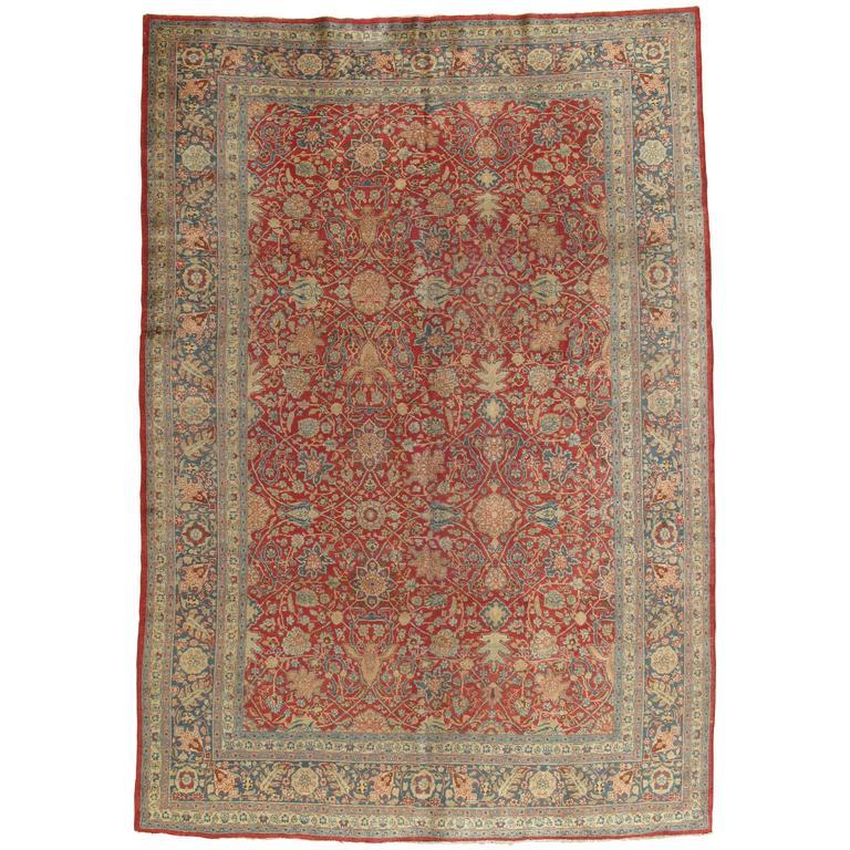 Royal Border Oriental Rug By Rug Culture: Antique Tabriz Carpet, Fine Oriental Rug, Hand Made, Red