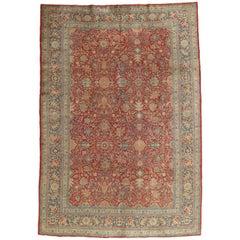 Antique Tabriz Carpet, Fine Oriental Rug, Hand Made, Red, Royal Blue Persian Rug
