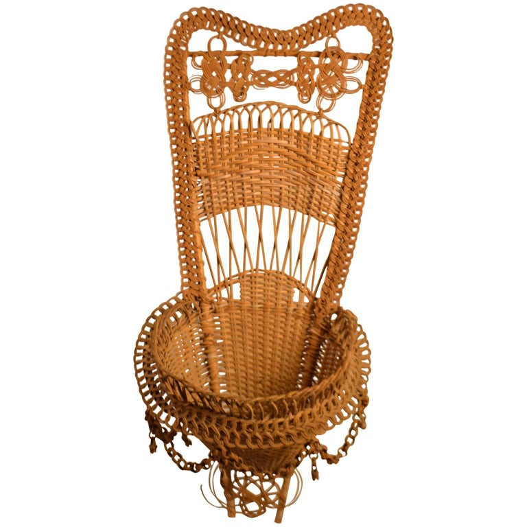 20th Century Wicker Work Basket For Sale
