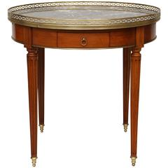 French 19th Century Bouillotte Table with Gray Marble Top
