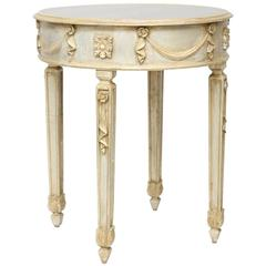 Painted Italian Side Table with Mirrored Top