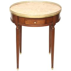 19th Century Mahogany Bouillotte Table with Marble Top
