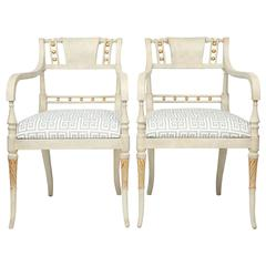 Pair of Painted and Parcel Gilt Regency Armchairs