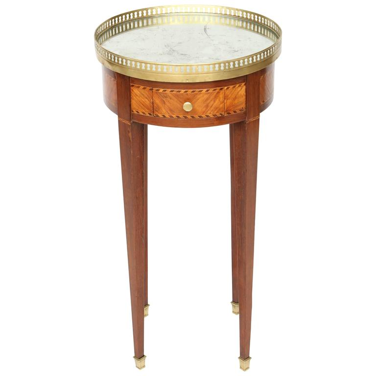 Inlaid Bouillotte Table with Mirrored Top