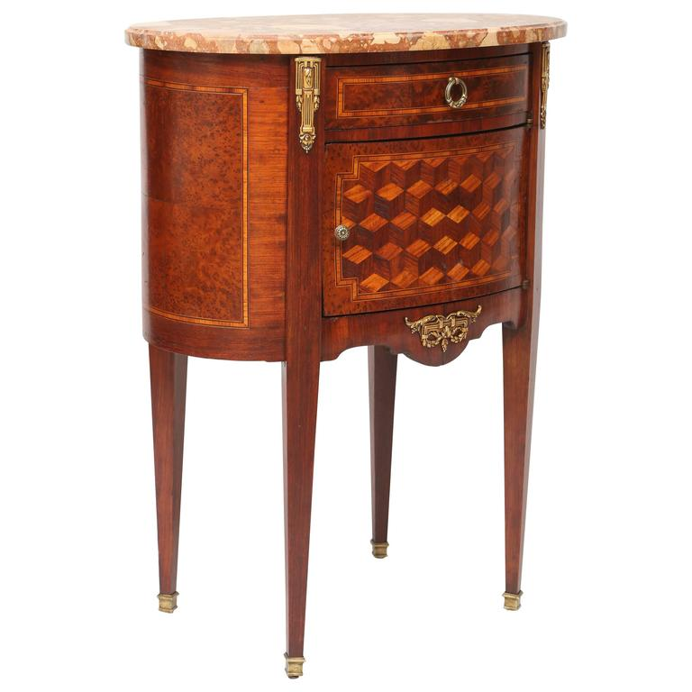 19th Century Inlaid and Parquetry French Commode with Marble Top