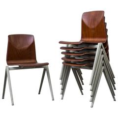 Set of Six Prouve Style Industrial Stacking Chairs