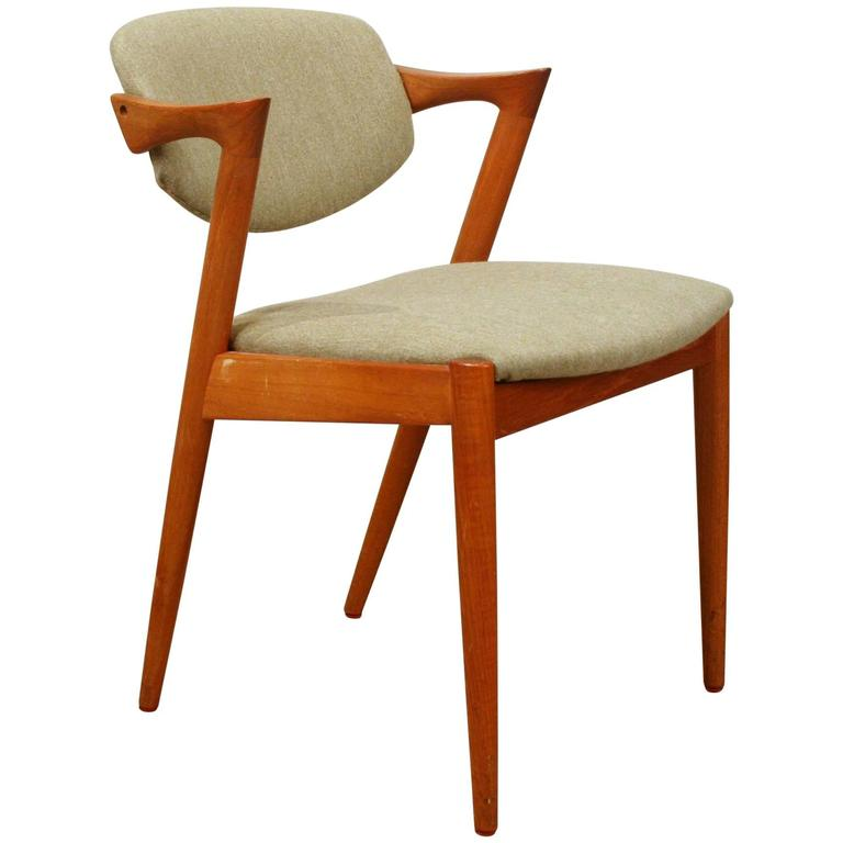 Vintage danish teak model 42 tilt back dining chair by kai kristiansen at 1stdibs - Kai kristiansen chairs ...