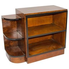 Small French Art Deco Burl Walnut Shelf or Display Cabinet