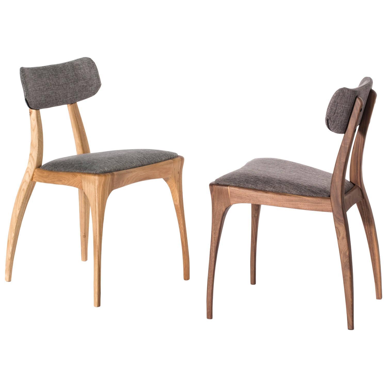 Pair Of European Modern Walnut Or Oak Upholstered Dining