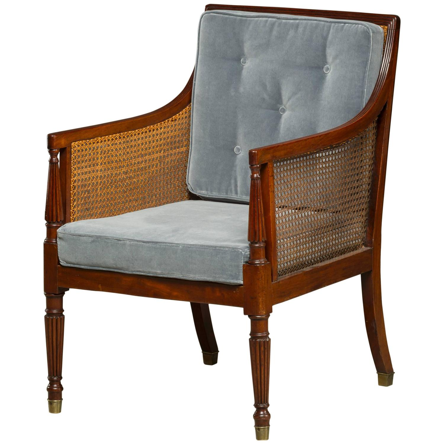 Regency armchair in mahogany cushions reupholstered with for Reupholstered chairs for sale