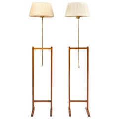 Pair of Floor Lamp, Walnut and Brass, Josef Frank for Svenskt Tenn