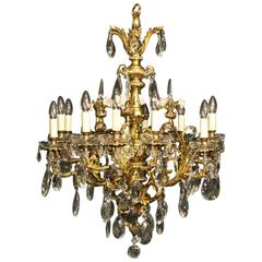 French Gilded Bronze Cherub Twelve-Light Antique Chandelier