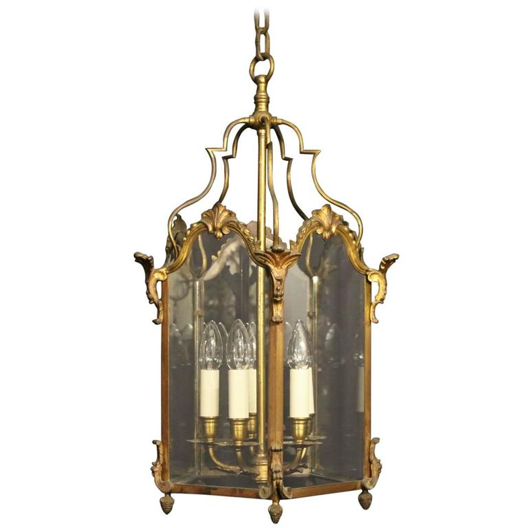 French Gilded Bronze Five-Light Antique Lantern