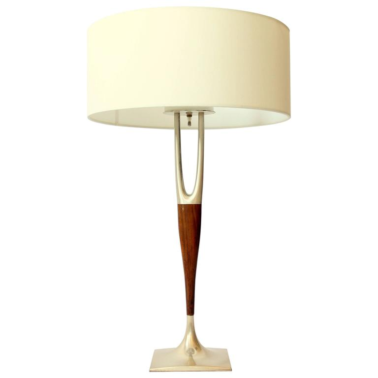 1960s Gerald Thurston for  Laurel Wishbone Three Socket Table Lamp .  USA