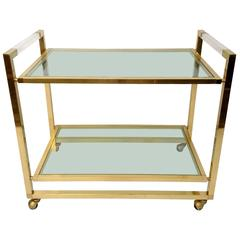 Bar Cart in Brass and Lucite, Italy, 1970s
