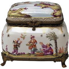 Meissen Painted Lidded Box Relief Decoration Chinoiserie Brass Mountings