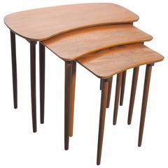 Set of Three Teak Mid-20th Century Curved Nesting Tables