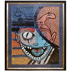 Ron English Abstract Acrylic over a Peter Max Silkscreen