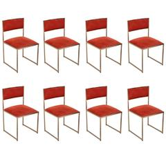 Set of Eight Dining Chairs in Brass or Gold by Willy Rizzo by Jean Charles