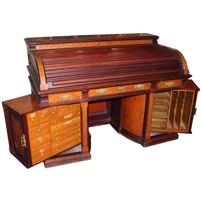 Rare Wooten Style Roll Top Desk By D S Rickaby Quebec For
