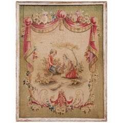 18th Century French Aubusson Tapestry Courting Scene in Painted and Gilt Frame