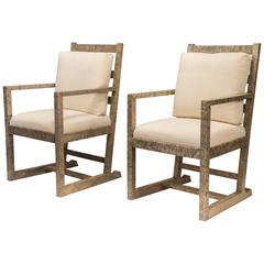 "Axel Einar Hjorth, Luxurious Pair of Solid Karelian Birch ""Funkis"" Armchairs"