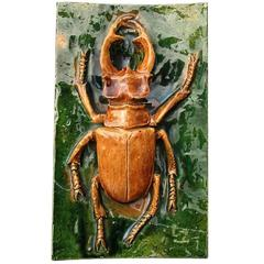 "Antique European Arts & Crafts Glazed Plaque ""Stag Beetle"" 1930-1950  FREE SHIP"