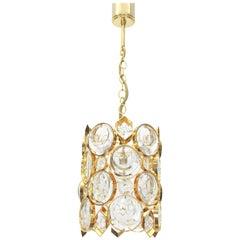 Petite Palwa Pendant, Gilt Brass and Crystal Glass, Germany, 1970s