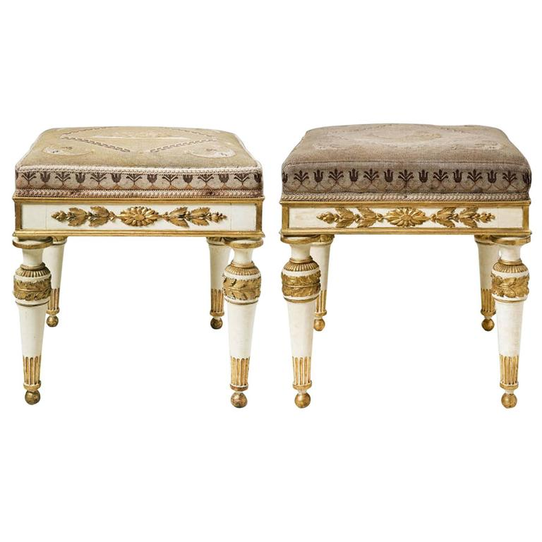 Pair Of Piedmontese Parcel Gilt Stools At 1stdibs