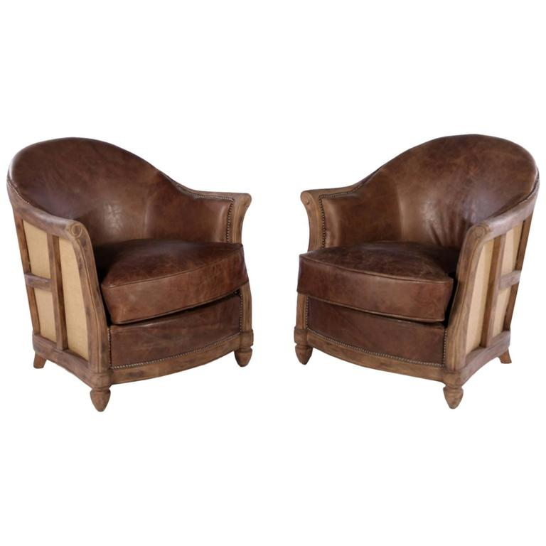 Pair of rustic modern art deco style club chairs at 1stdibs for New art deco style furniture