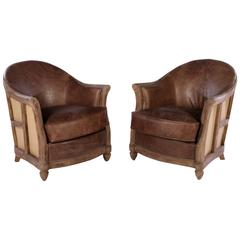 Pair of Rustic Modern Art Deco Style Club Chairs