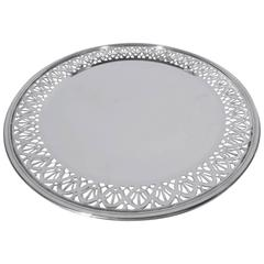 Tiffany Sterling Silver Cake Plate with Pierced Arcade