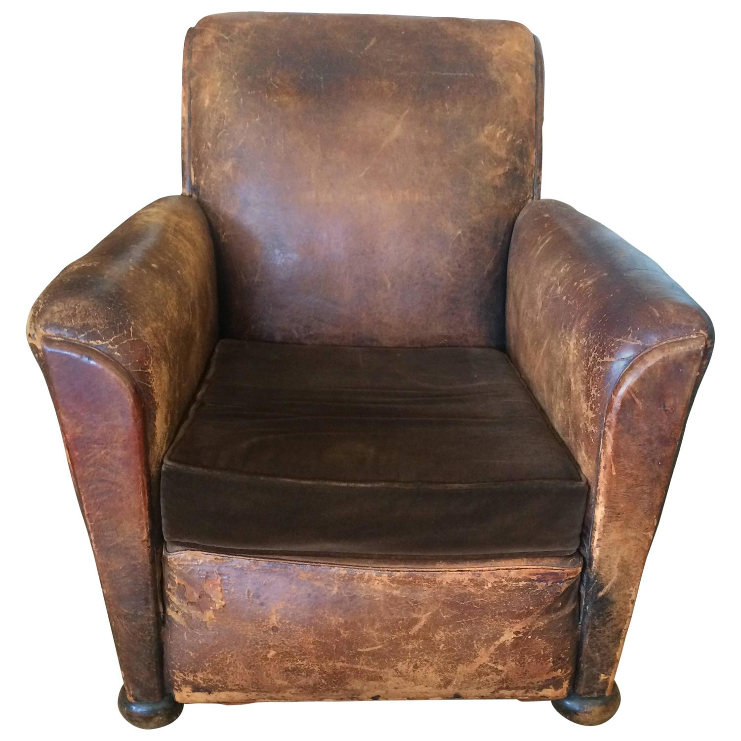 Yummy distressed leather and velvet french club chair for sale at