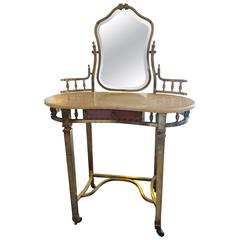 Romantic French, 1940s Brass and Marble Vanity