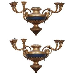 Pair of Italian Giltwood Vasiform Six-Light Wall Sconces