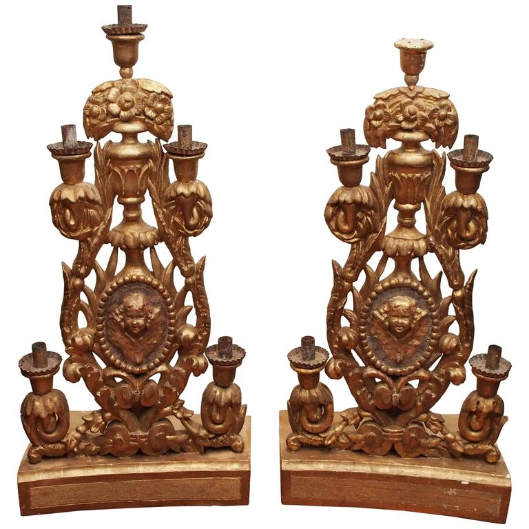 Pair of Italian Giltwood Altar Candlesticks For Sale