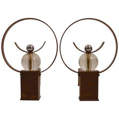 Art Deco Moderne Andirons Copper Glass and Iron