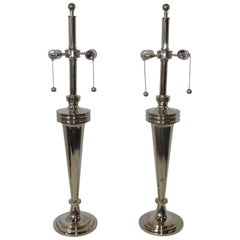 Pair of Art Deco Nickel Chrome Mutual Sunset Table Lamps