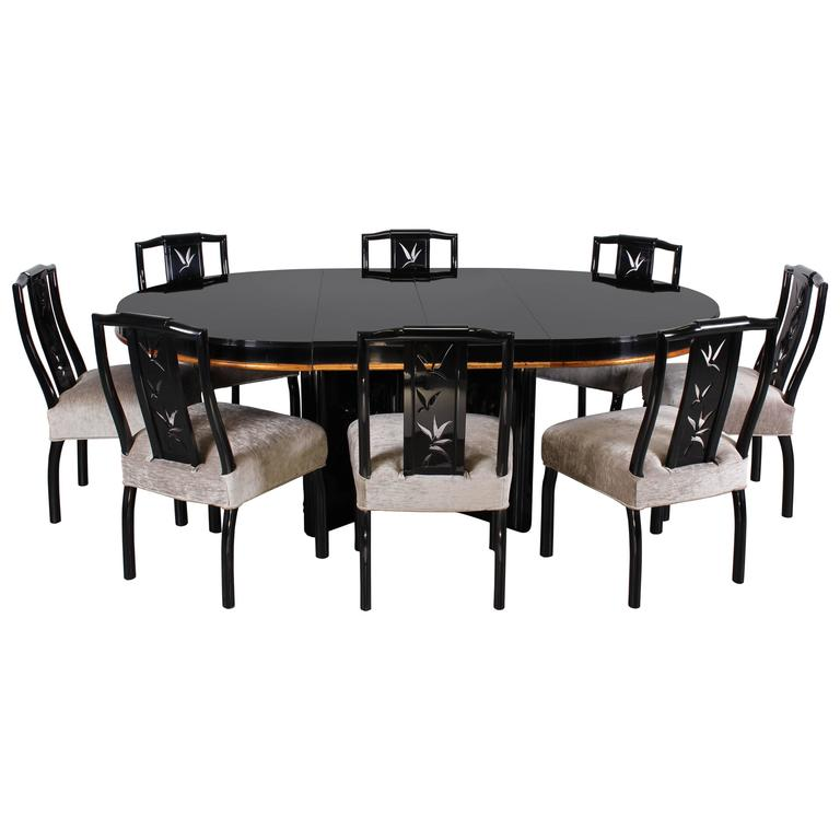 James Mont Dining Table With Eight Chairs Asian Modern, 1940s For Sale