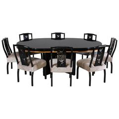 James Mont Dining Table with Eight Chairs Oriental Modern, 1950s
