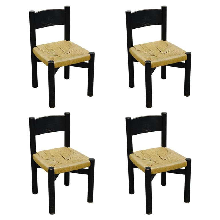 Rare Set Of Four Black Chairs By Charlotte Perriand For Meribel Circa 1950 For Sale At 1stdibs