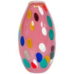 Venetian Murano Glass Vase in Pink and Multicolors, circa 1980s
