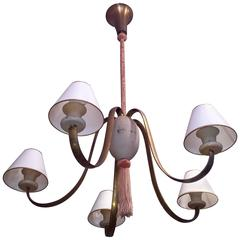 Large Unusual Vintage Five-Arm Chandelier, Grey and Pink, circa 1950s