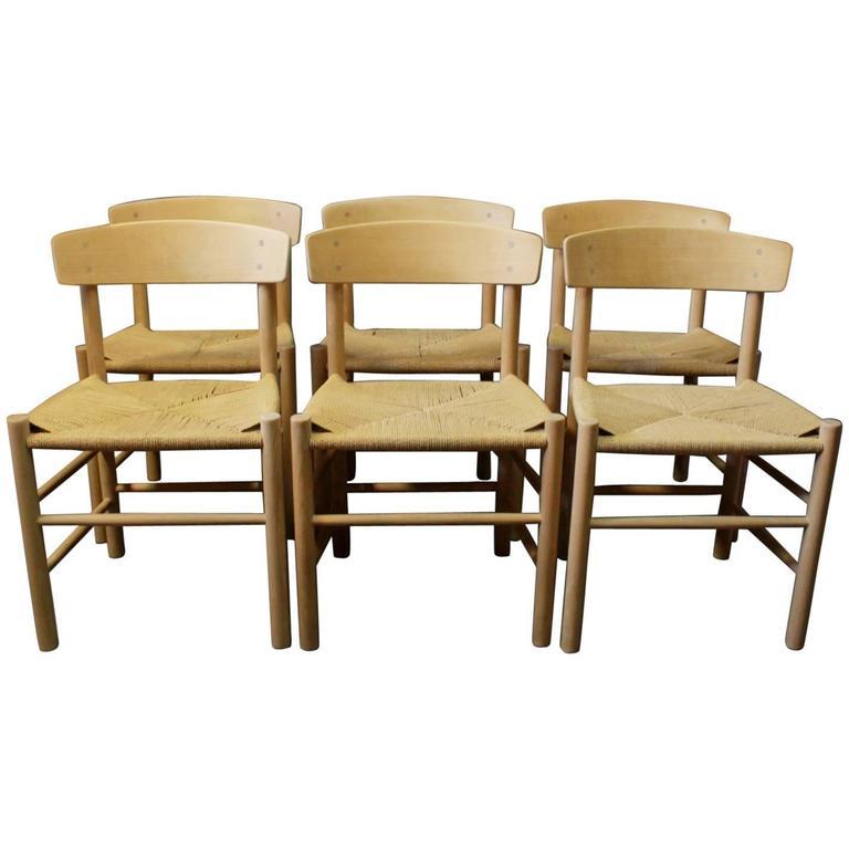 Six FDB Chairs, Model J39 In Beech Designed By Børge Mogensen 1