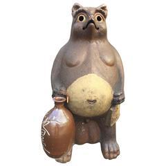 Old Japan Large Folkart Hero Tanuki Raccoon Dog Garden Sculpture