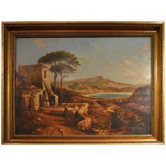 19th Century Painting Neapolitan Landscape Postiglione